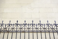 Metal gate in a church. Metal railing on a church, detail of a metal shield on a facade, art and Safety Stock Photography