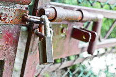 Metal gate closed with padlock Stock Images