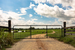 Metal gate on dirt road. Metal gate closed on a dirt road leading into a field. Farm pond and round hay bales are visible in the background Stock Images
