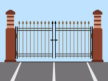 Metal gate flat vector illustration Royalty Free Stock Photography