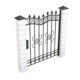 Metal gate isolated on white background. 3d rendering Royalty Free Stock Images