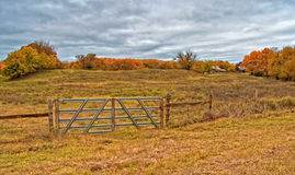 Metal Gate Leading to a Field. Metal Gate leads to an open field under an overcast sky with two abandoned farm buildings in the background Royalty Free Stock Photo