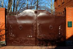 Metal gate with lions. Stock Image