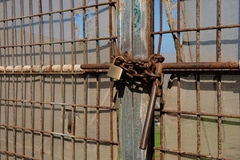 Metal gate locked with chain and padlock Stock Photography