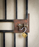 Metal Gate and Open Padlock Royalty Free Stock Photo