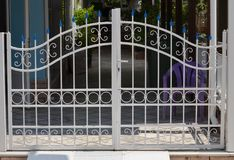 Metal gate of private house royalty free stock images