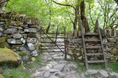 A metal gate through a wall and a stile over it, lead into a rocky path through woodland stock photos