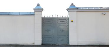 The metal gates are made in a stylized medieval style Royalty Free Stock Photo