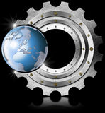 Metal Gear and Blue Globe. Industrial background with metal gear and blue terrestrial globe Royalty Free Stock Images