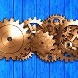 Metal gear on blue rustic wood board. meterial design. Metal gear design look like a human brain on blue rustic wood board. 3d illustration material design Royalty Free Stock Image