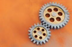 Metal gear mechanic machine engineering design rust background steel wheel Stock Photography