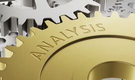 Metal gear wheels with the engraving Analysis Stock Images