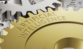 Metal gear wheels with the engraving Artificial Intelligence Stock Photography