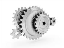 Metal gears. 3d render of five connected metal gears Stock Photos