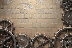 Metal gears background. Metal gears mechanism geared 3d illustration Royalty Free Stock Image