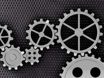 Metal gears background. Metal gears mechanism geared 3d illustration Royalty Free Stock Photos