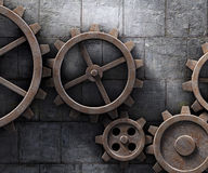 Metal gears background. Metal gears mechanism geared 3d illustration Royalty Free Stock Photo