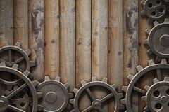 Metal gears background. Metal gears mechanism geared 3d illustration Stock Photo