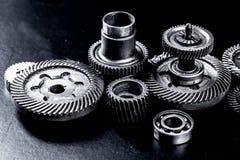 Metal gears on black Stock Image