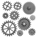 Metal gears and cogs isolated 3d illustration vector illustration