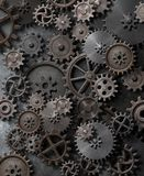 Metal steam punk background with cogwheels and gears 3d illustration. Metal gears and cogwheels background Stock Image