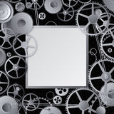 Metal gears design. Metal gears frame design with copy paste Stock Photography