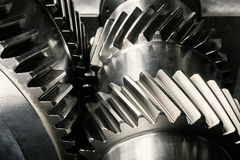 Metal gears. Gear wheels of the engine Stock Photography