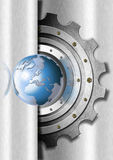 Metal Gears and Globe Industrial Template Royalty Free Stock Image