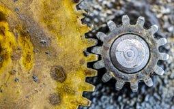 Metal Gears. Grimy, dirty, greasy metal gears Stock Photos