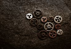 Metal gears grunge. Assorted metal gears on grunge background, with copy space Stock Image