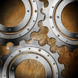 Metal Gears on Grunge Background Royalty Free Stock Image