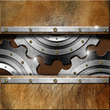 Metal Gears on Grunge Background Royalty Free Stock Photography