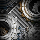 Metal Gears on Grunge Background Stock Photo