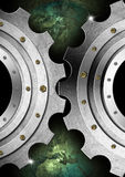 Metal Gears Industrial Template. Two Metallic gears on green and black background with earth globe Royalty Free Stock Image