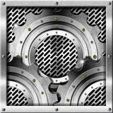 Metal Gears on Metal Grid Background Royalty Free Stock Photo