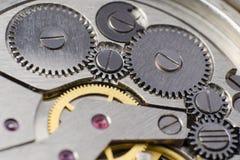 Metal gears of old clock mechanism.  Royalty Free Stock Photos