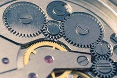 Metal gears of old clock mechanism.  Royalty Free Stock Images