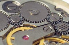 Metal gears of old clock mechanism Royalty Free Stock Photo