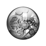 Metal gears. Spherical glossy button. Web element royalty free illustration