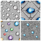 Metal and gems pattern set Stock Images