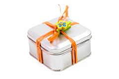 Metal gift box Royalty Free Stock Image