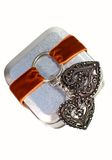Metal gift box with decorative heart Stock Image