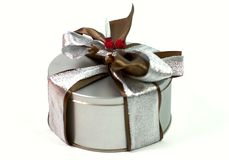 Metal Gift Box With Beautiful Bow Stock Photo