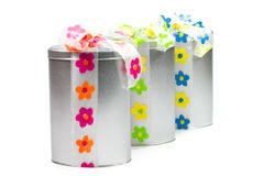 Metal gift boxes Stock Photo