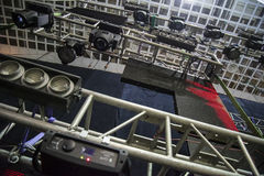Metal girder extensive scaffolding providing platforms for stage structure support Stock Images