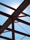 Metal Girders. And crossbracing in a new commercial construction project silhouetted against the sky Stock Image