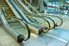 Metal and glass escalator Royalty Free Stock Photography