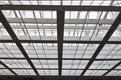 The metal and glass roof. Of a hall Stock Image