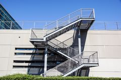 Metal and glass stairs in the building, modern style.  Royalty Free Stock Photo