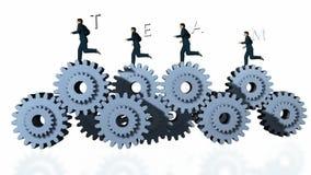 Metal gli ingranaggi ed il funzionamento di Businessmans con il testo contro bianco, la macchina fotografica che gira, l'alfa, met illustrazione di stock